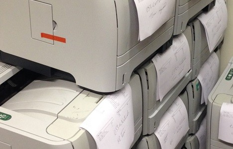 Stack of laser printers