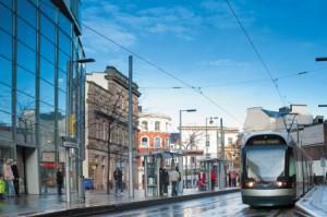 tram in NOttingham city centre