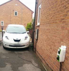 NIssan Leaf plugged in for charging