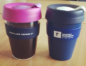 Portland Coffe Co and Unviersity of Nottingham branded KeepCups