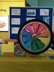 A colourful prize wheel made from a bike tire