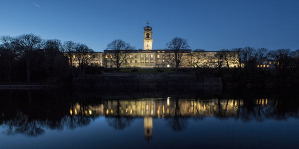 trent building at dusk