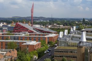 A view from a rooftop looking across Jubilee Campus.