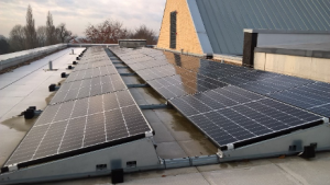 The photovoltaic panels fitted to the roof on Cripps Health Centre.