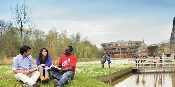 Postgraduate students relaxing outside on Jubilee campus