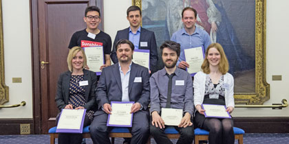 (Back L-R)  Kian Ong, Pawel Smietanka, Bobby Hyde PGR Teaching Award winners / highly commended: (Front L-R) Vicky Strong, Tim Coughlin, Samuel Cooper, Sarah Brydges