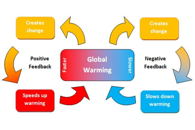 Positive and negative feedbacks that affect global warming