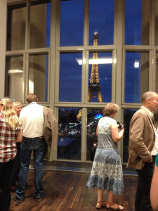 View of the Eiffel Tower from the welcome drinks reception at the Musee de l'Homme