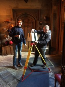 Laser scanning the gatehouse – Sean Ince and Lukasz Bonenberg.