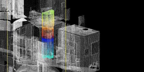 Samples of laser scan showing double-level priest hole.