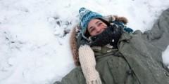 Girl in snow, University park, Nottingham