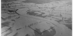 Aerial view of flooding in fields around Burton Joyce, 1936 © University of Nottingham Manuscripts and Special Collections