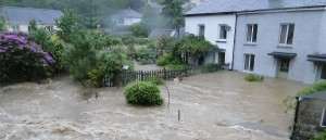 Flooded homes in Talybont, Wales, June 2012 © Henry Lamb