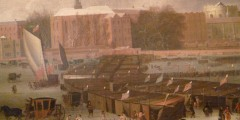 Detail - A Frost Fair on the Thames at Temple Stairs, 1684 by Abraham Hondius