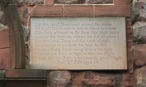 Photograph of the commemorative plaque in memory of Robert Cadman located by the main door of St Mary's Church, Shrewsbury.