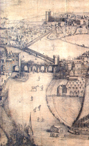View of the Welsh Bridge and the activities taking place on the ice.