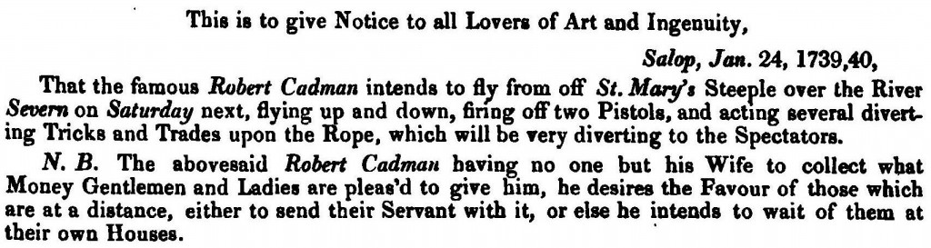 Extract from H. Owen and J.B. Blakeway, A History of Shrewsbury (1825), 410.