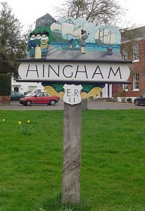Hingham town sign