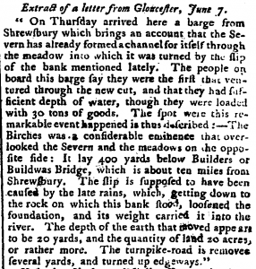Extract of a letter published in the London Evening News, 8 June 1773.