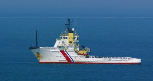 Photograph of the Emergency Towing Vessel (ETV) Anglian Monarch that was chartered by the Maritime and Coastguard Agency (MCA) and based at Stornoway for use in pollution control and the towing of vessels that were in difficulty. It was withdrawn in 2012.