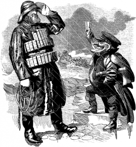 Punch cartoon celebrating the Royal National Lifeboat Institution (RNLI) published in 1892.