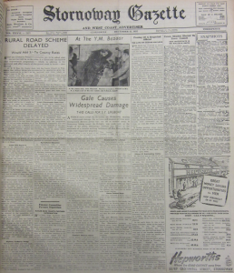 Photograph of a hard bound copy of the Stornoway Gazette, 23 December 1952 held at Stornoway Library. Headline: 'Gales Cause Widespread Damage.'