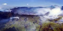 Aerial view of the caldera of Mt Tambora at the island of Sumbawa, Indonesia