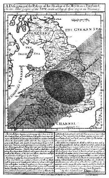 Edmund Halley's map of the passage of the solar eclipse over England, 22 April 1715
