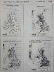 Map showing the monthly charts showing mean pressure, bright sunshine, mean air temperature and the anomaly of mean one feet earth temperature. Source: The Meteorological Office 'Monthly Weather Report' for February 1963.