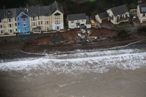 Aerial photograph of the collapsed Dawlish sea wall, Friday 7 Feb 2014. Source: Network Rail.