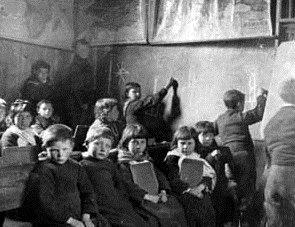 The school children inside St Kilda school.