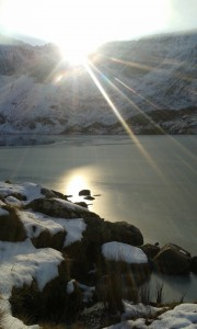 A partially frozen Llyn Idwal in Snowdonia, February 2015 (photo: Sarah Davies)