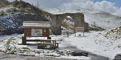 Late April snow at the Arch 3 km from Cwmystwyth, Ceredigion © Copyright Nigel Brown and licensed for reuse under Creative Commons Licence