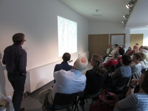 Dr. Simon Naylor describing the geography of the Western Isles to the audience.