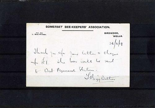 Postcard detailing bee restocking scheme of 1920s. Image courtesy of David Charles.
