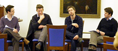 Dr James Moran (School of English), William Ivory (screenwriter), Mark Pybus (producer) and Dr Andrew Harrison (School of English)