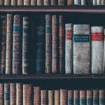 A shelf of old books.