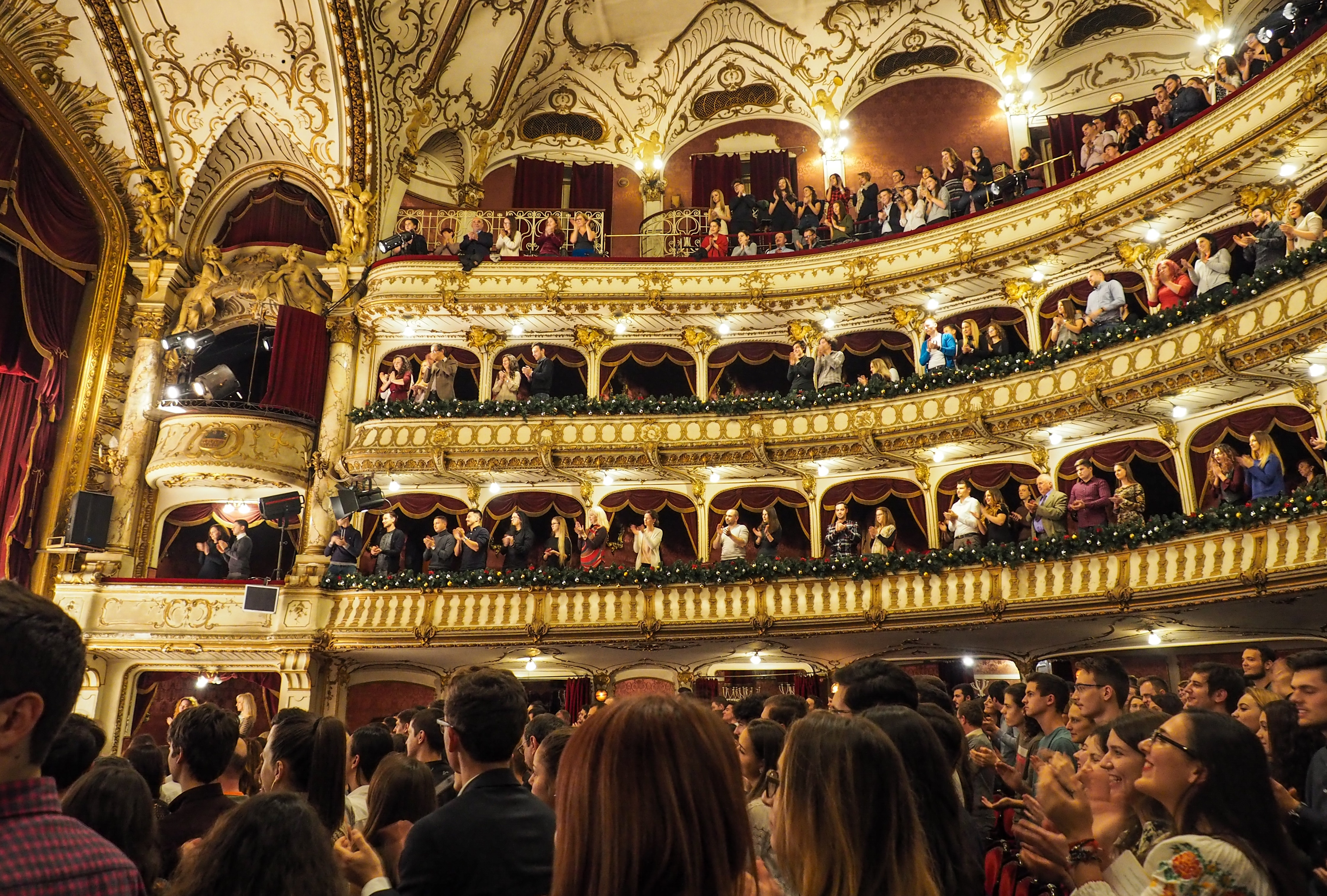 A theatre full of people giving a standing ovation to a performance.